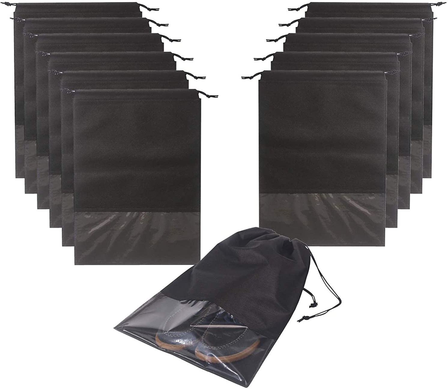 12PCS Travel Shoe Bags Non-Woven Storage with Rope for Men and Women Large  Shoes Pouch Packing Organizers, Black - J3 BUY