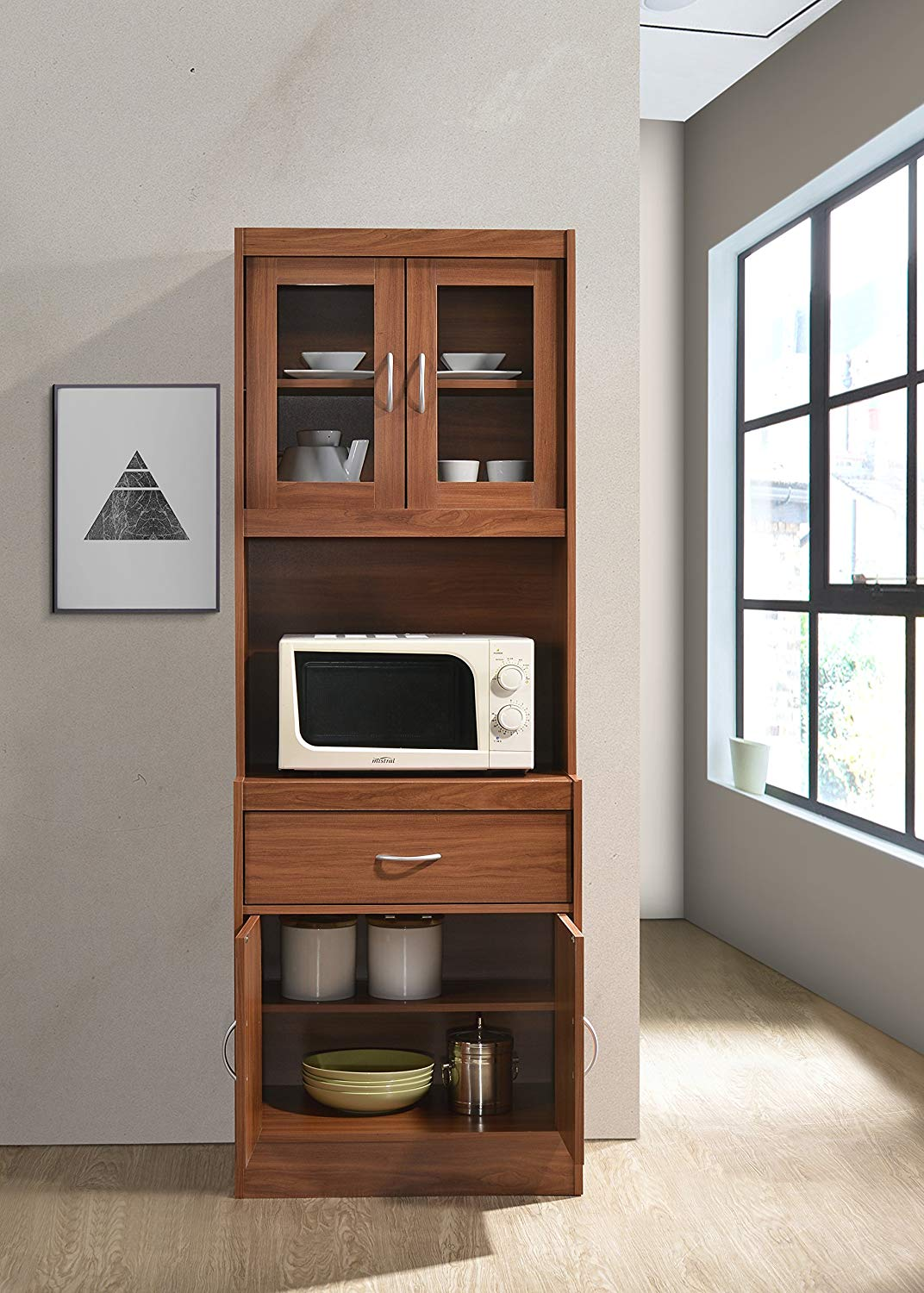 Details About Door Cabinet Wood Tall Microwave Kitchen Storage Cupboard Pantry Bar Organizer