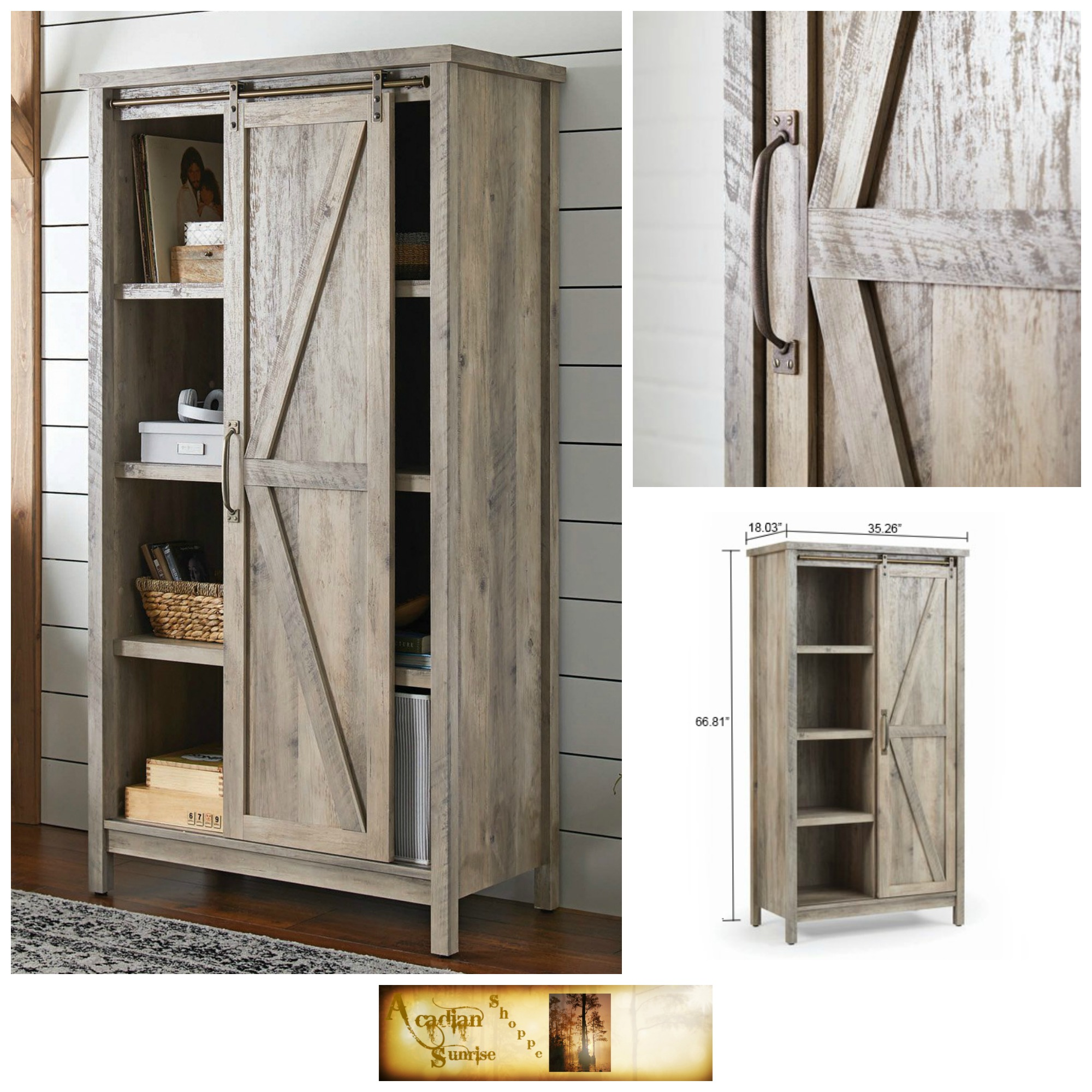 Details About Tall Storage Cabinet Country Wood Rustic Farmhouse Pantry Cupboard Sliding Door