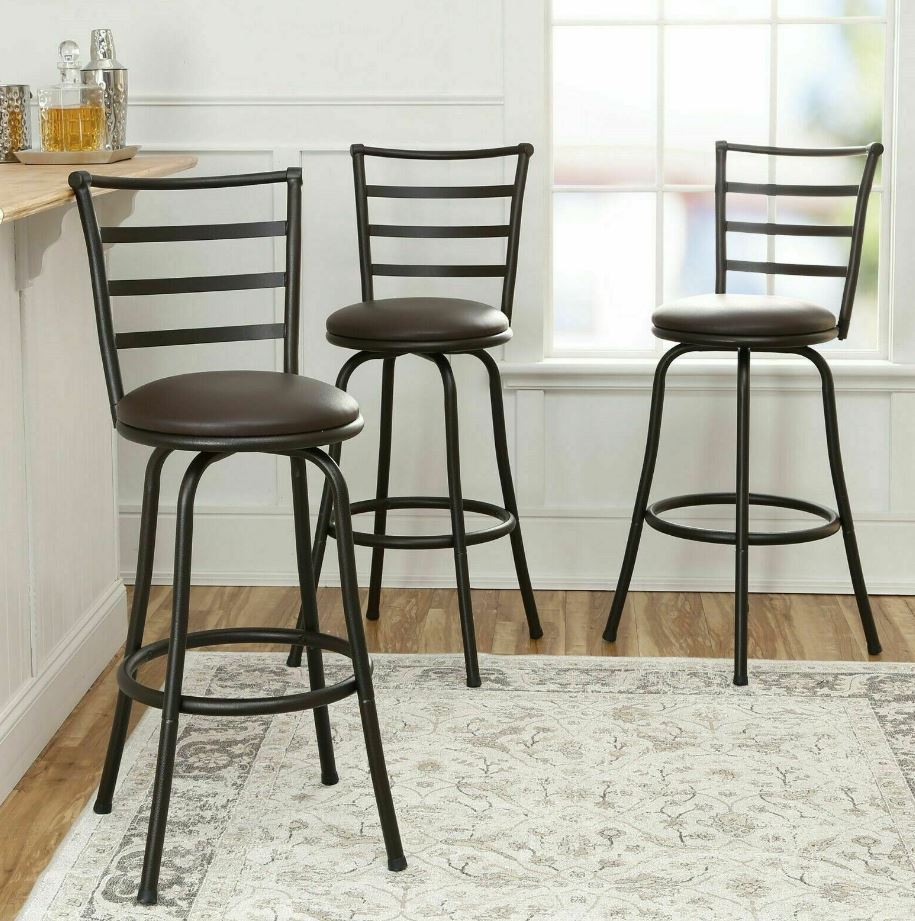 Amazing Details About 3 Pack Swivel Bar Stools Kitchen Adjustable Height Counter Dining Chair Bronze Alphanode Cool Chair Designs And Ideas Alphanodeonline