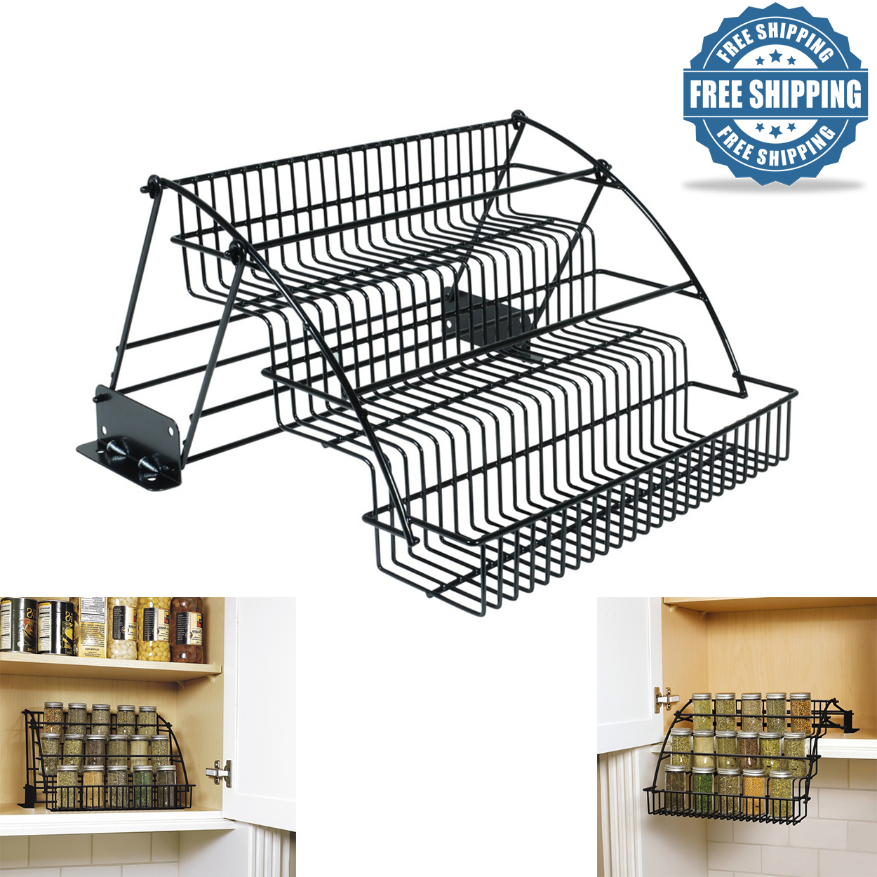 Details About Rubbermaid Pull Down Cabinet Spice Metal Rack Tier Organizer Wire Holder Storage