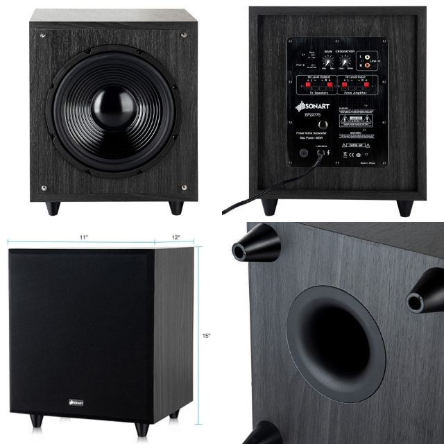 Details about 10 Inch Subwoofer Amplifier For Home Powered Active 400 W  Front Firing Woofer