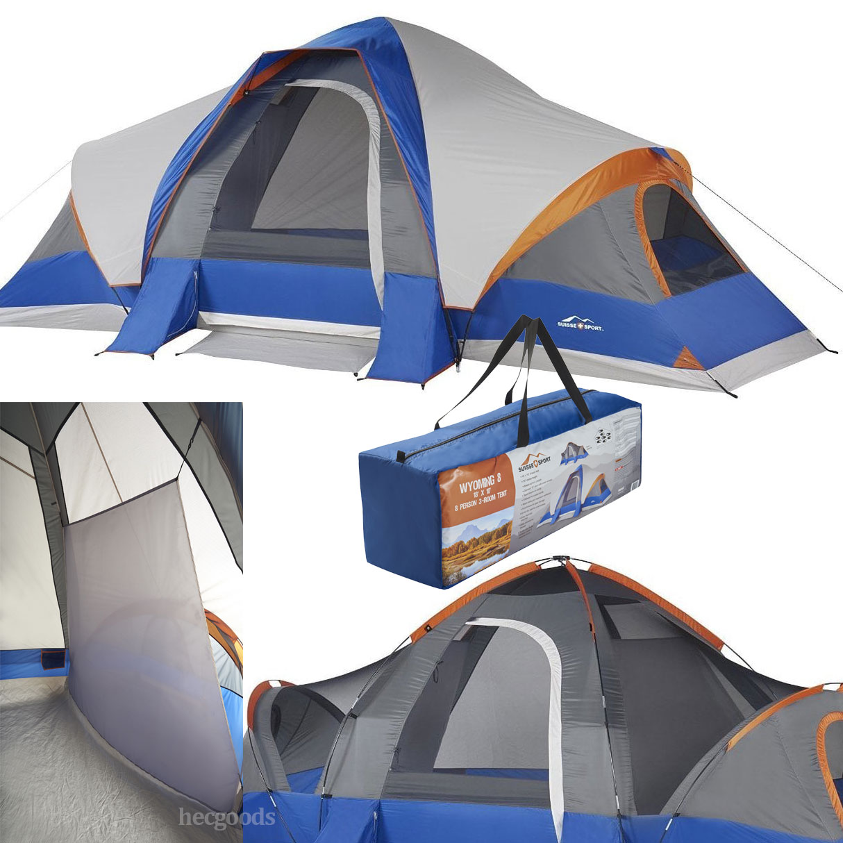 info for d9138 25e28 Details about Big 8-Person 3-Room Cabin Tent with Large Sun Canopy Windows  Outdoor Camping
