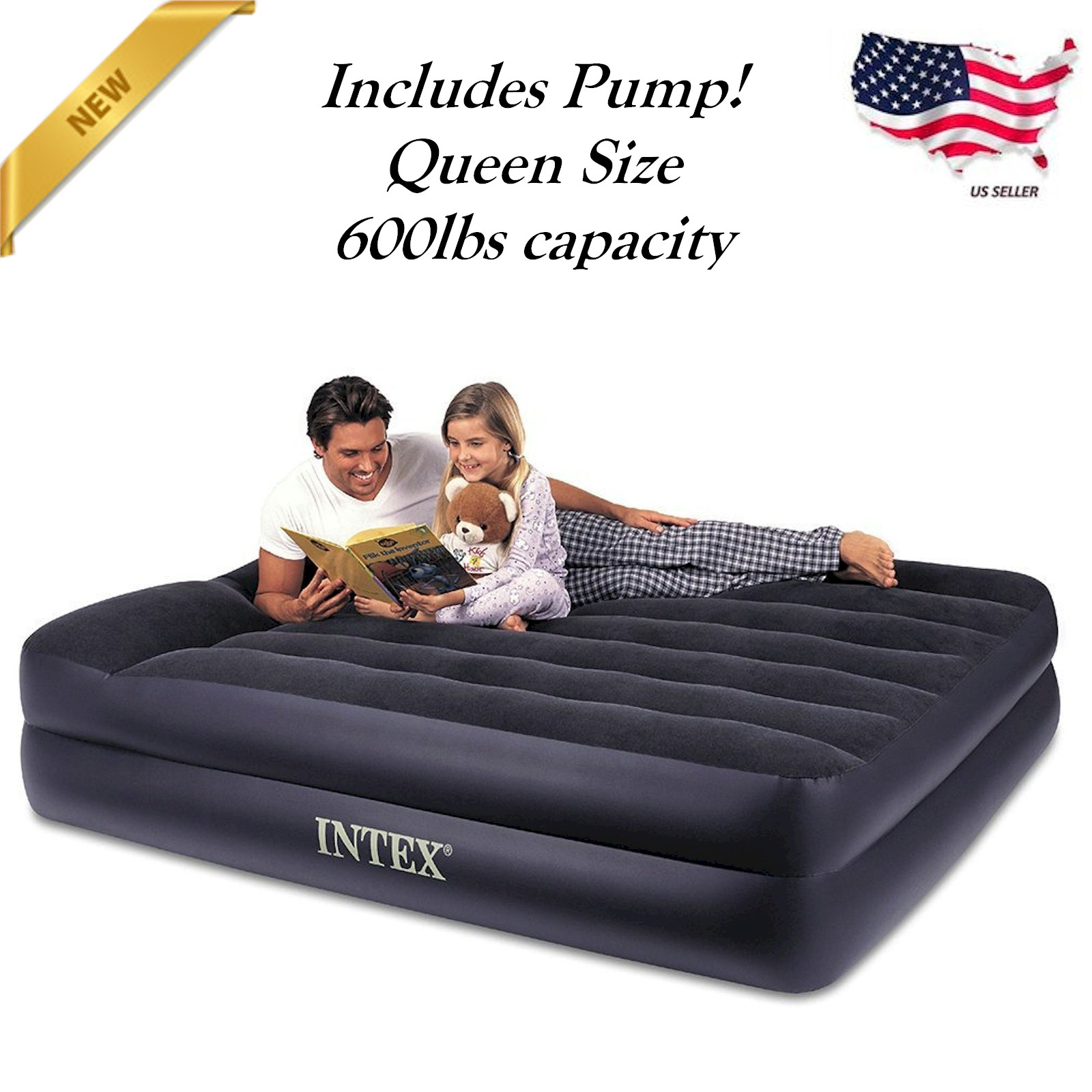 DELUXE SINGLE AIR BED BLOW UP INFLATABLE MATTRESS WITH BUILT IN ELECTRIC PUMP