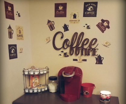Details about Coffee Sticker Decorations Kitchen Wall Decor Decal  Decoration Cup Pot sign cafe