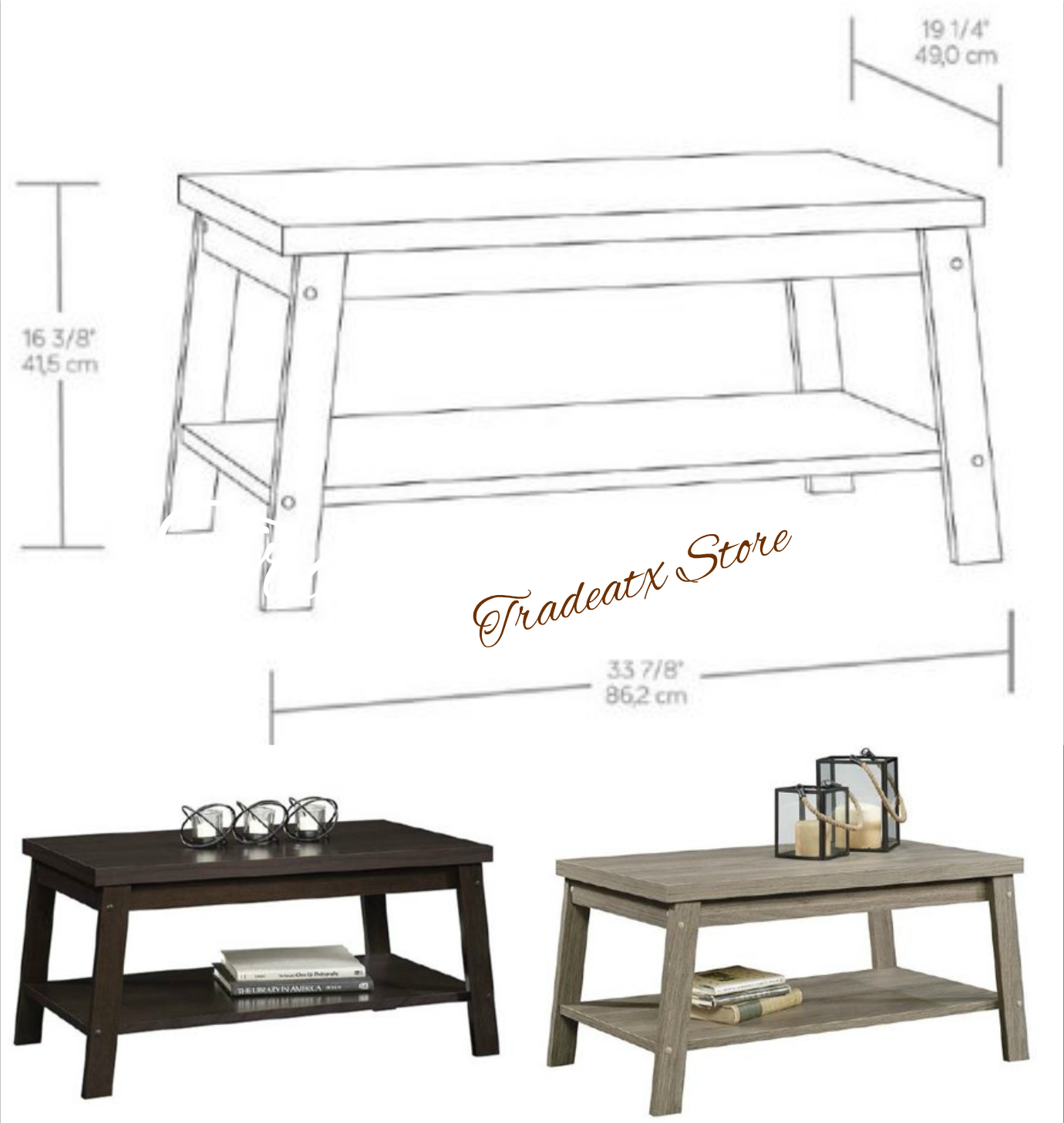 Details About Mainstays Logan Coffee Table Shelf Fashion Brown Espresso Or Rustic Oak Finish