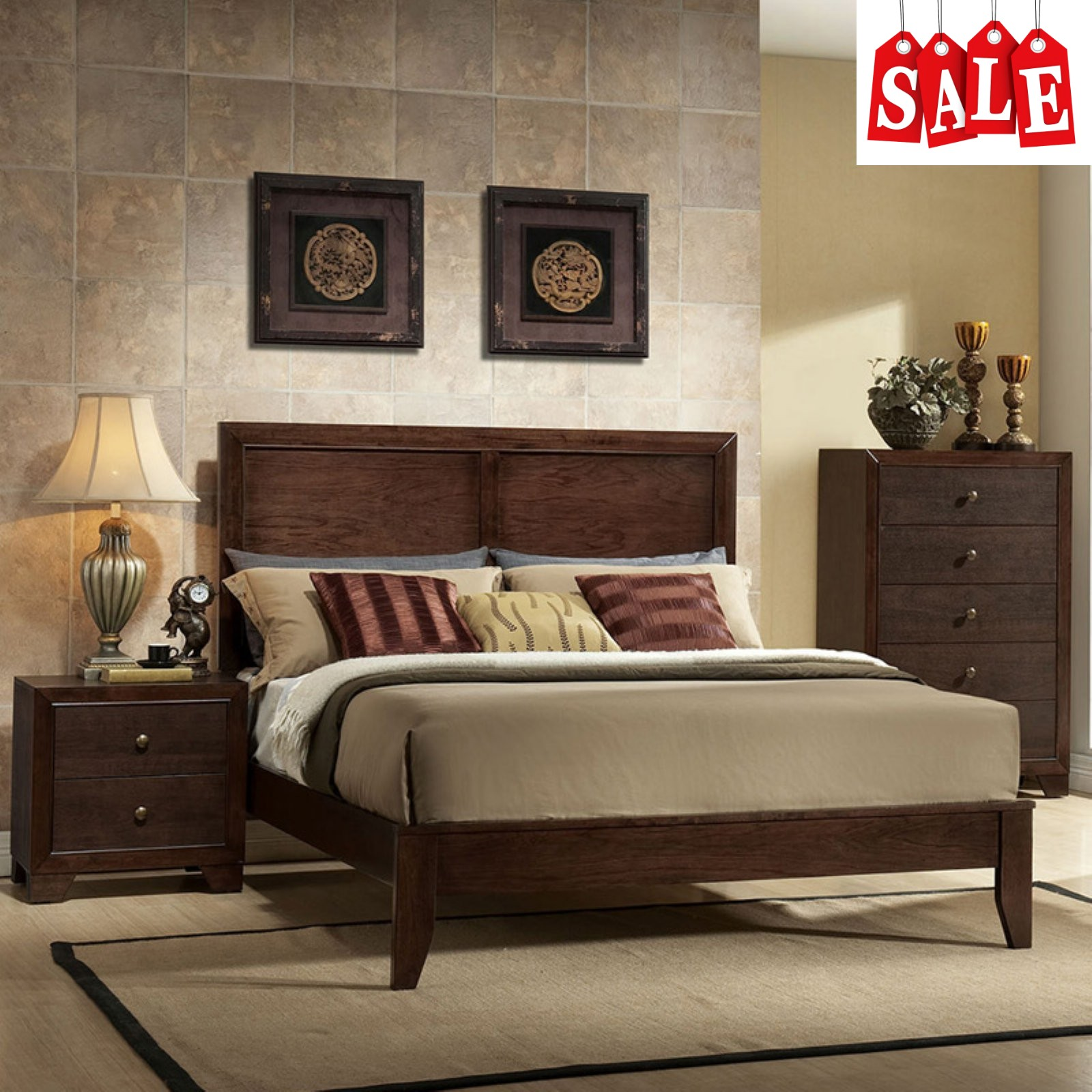 Details About Wooden King Size Bed Frame With Headboard And Low Profile Footboard Sy Brown