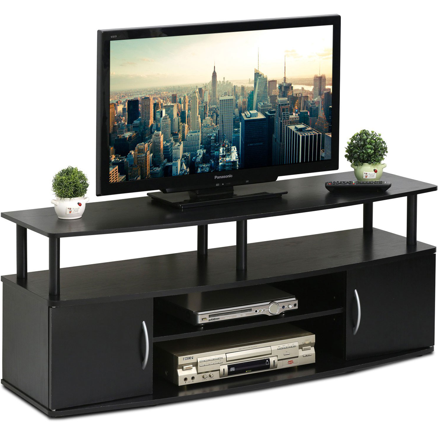 Details about Large Entertainment Center 50 inch Wide TV, Open Shelf Modern  Black Wood Finish