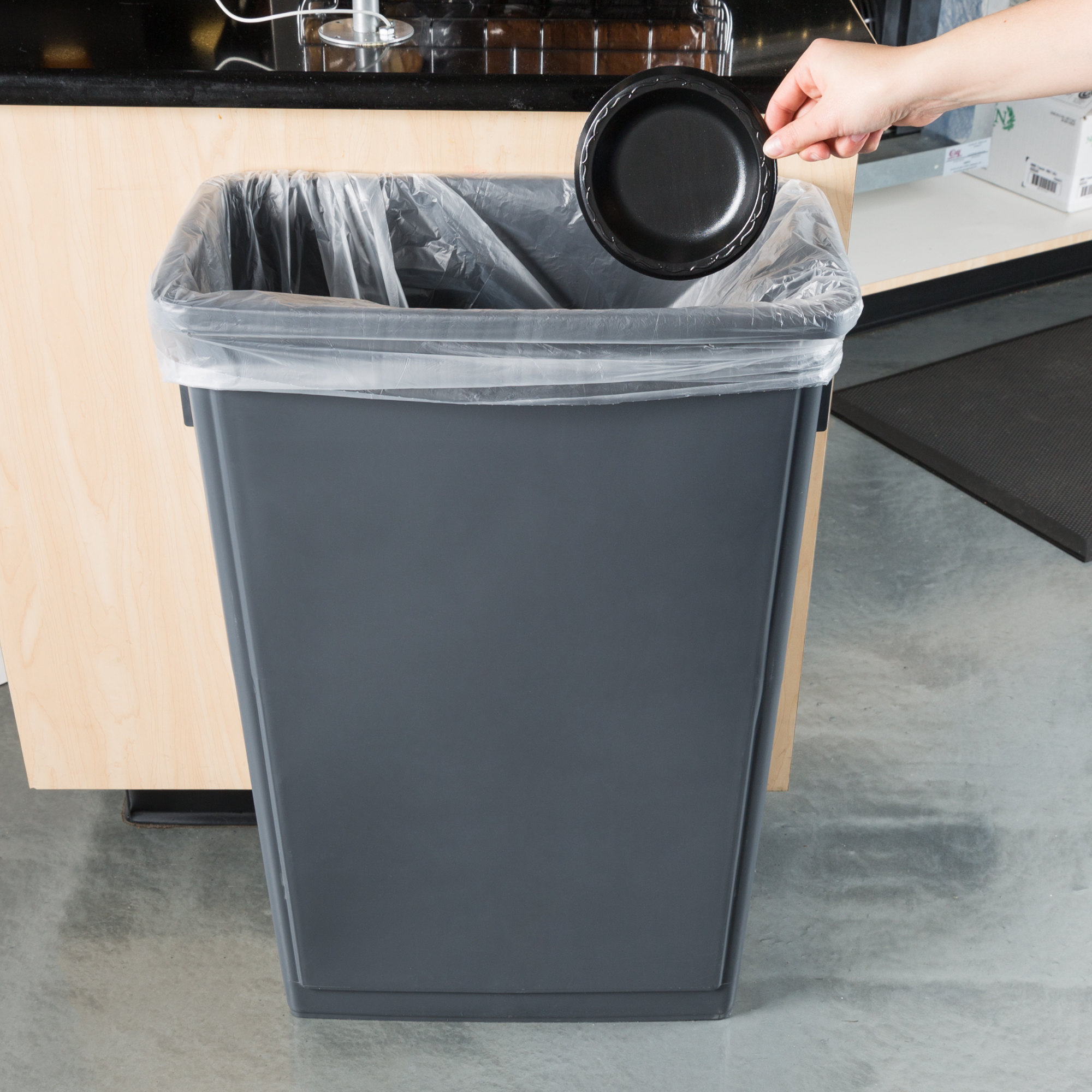 Details about 23 Gallon Heavy-Duty Gray Plastic Slim Commercial Restaurant  Kitchen Trash Can