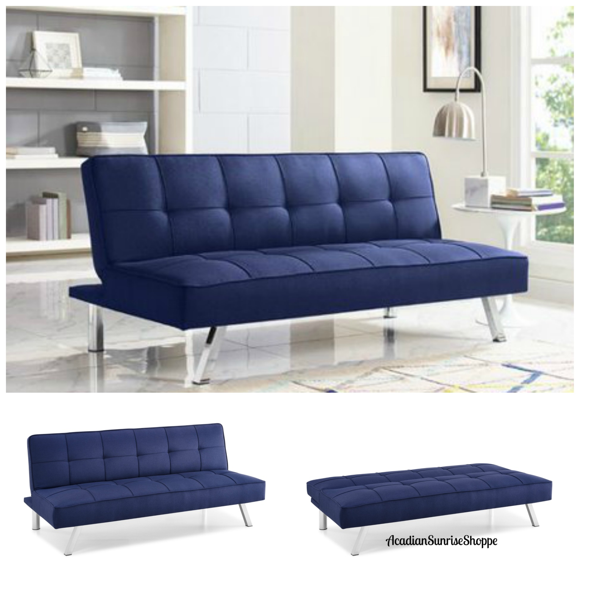 Details about Sleeper Sofa Bed Blue Convertible Couch Living Room Home  Office Futon Loveseat