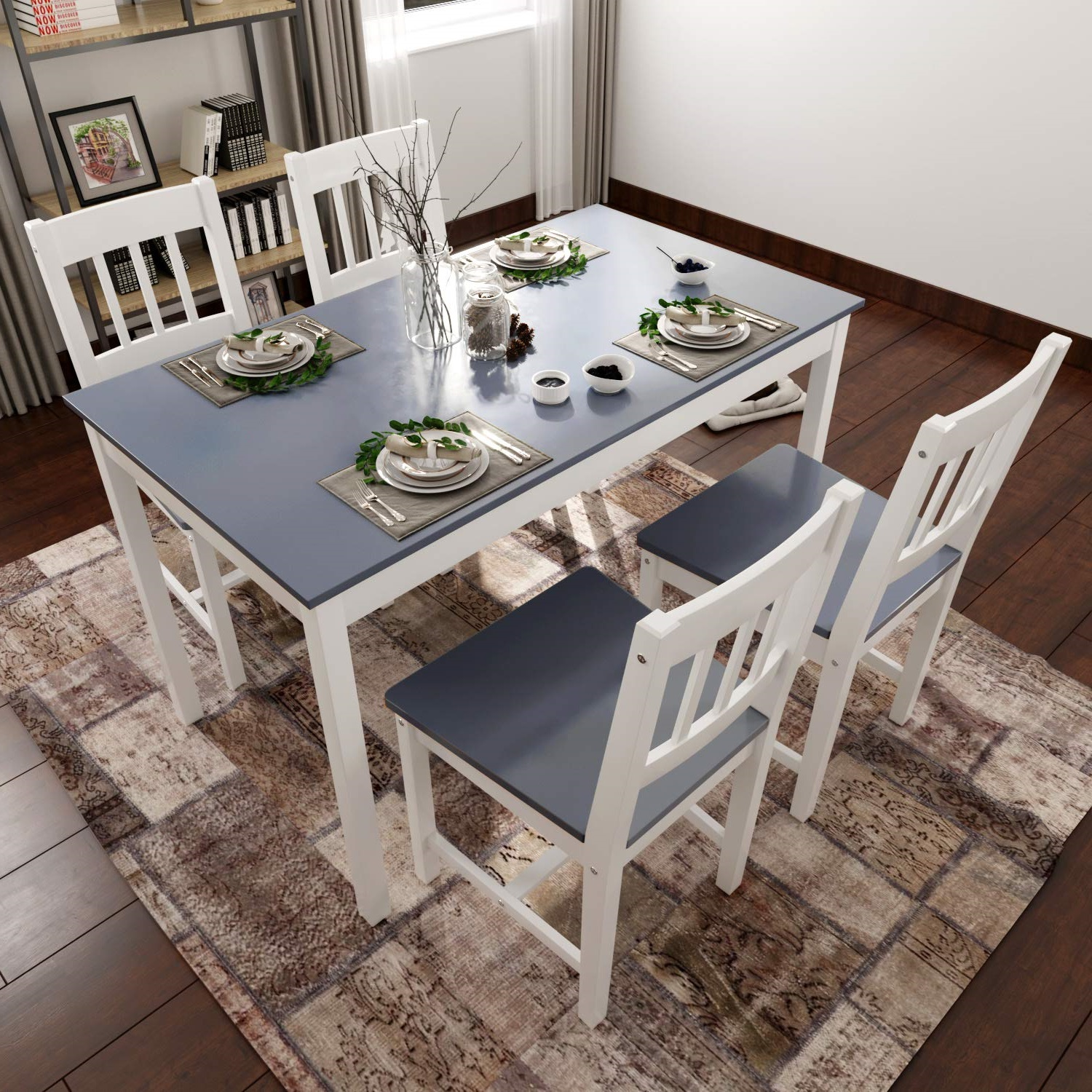 Details About Solid Pine Rectangular Design Grey Dining Table Chairs Retro Lounge Kitchen