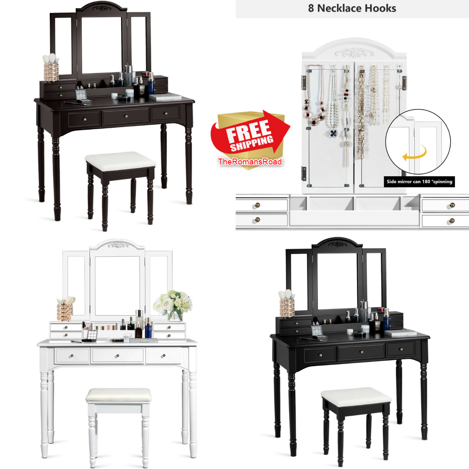 Details About Rotating Mirror Vanity Tri Folding Necklace Hooked Dressing Table Set 7 Drawers