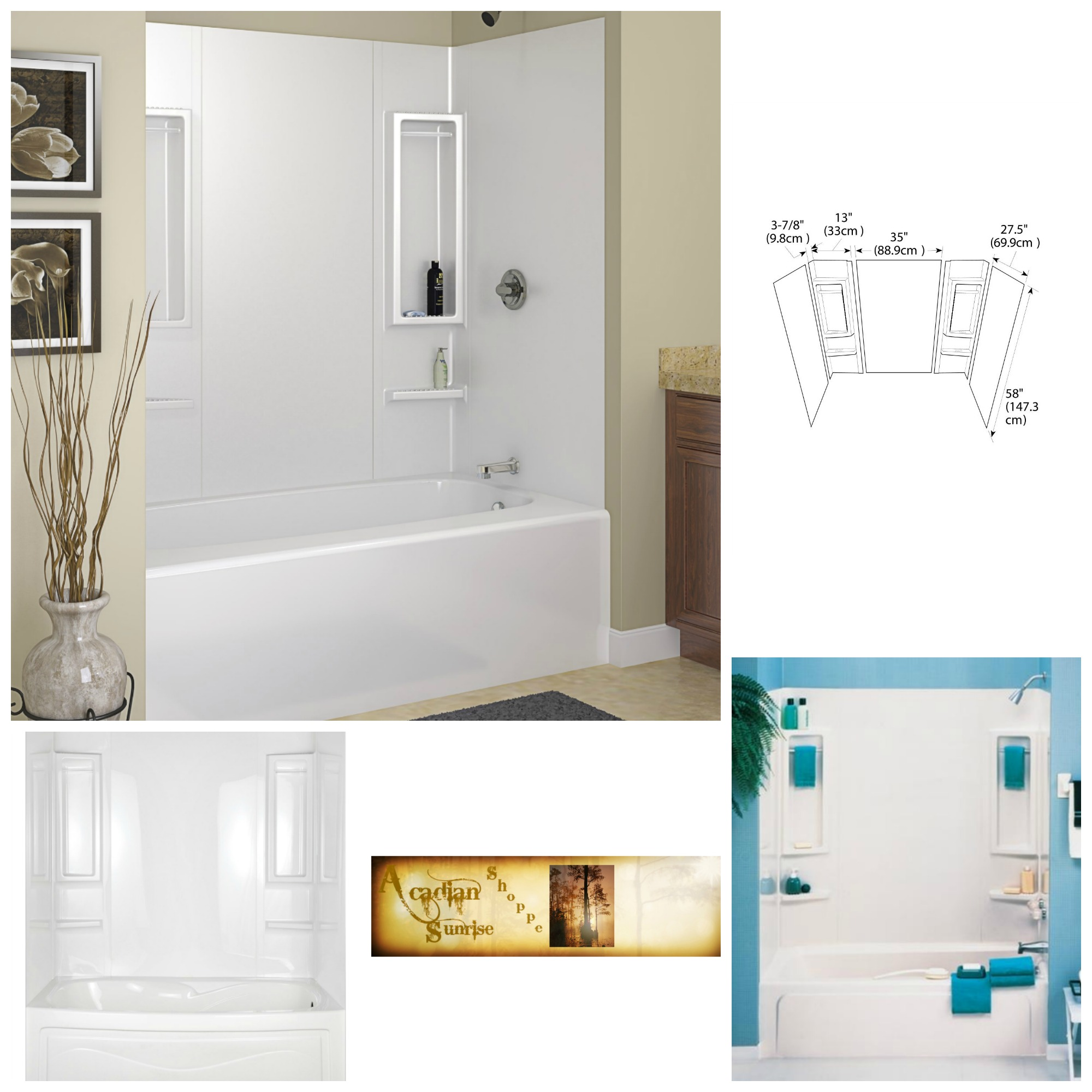 Details About White Tub Wall 5pc Bath Shower Surround Easy Install Diy Home Decor Improvement