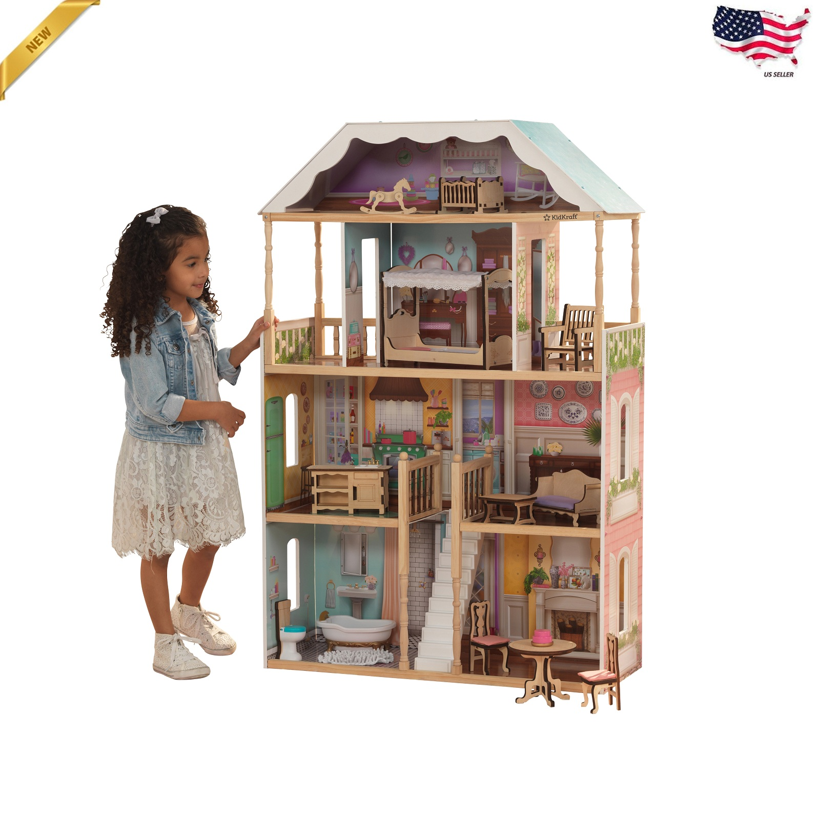 Details About Barbie Size Doll House Girls Dream Play Playhouse Dollhouse Wooden Furniture