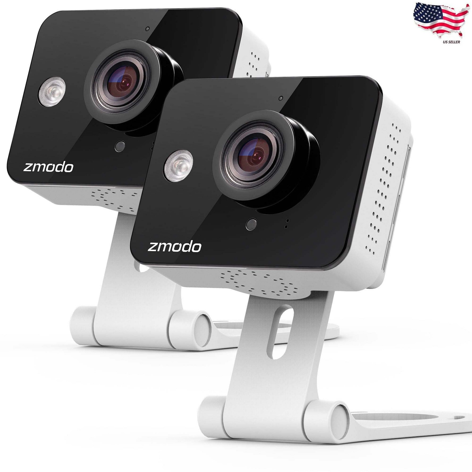 MeShare 720P HD WiFi Wireless Smart Security Camera 2-Way Audio 2 Pack Zmodo