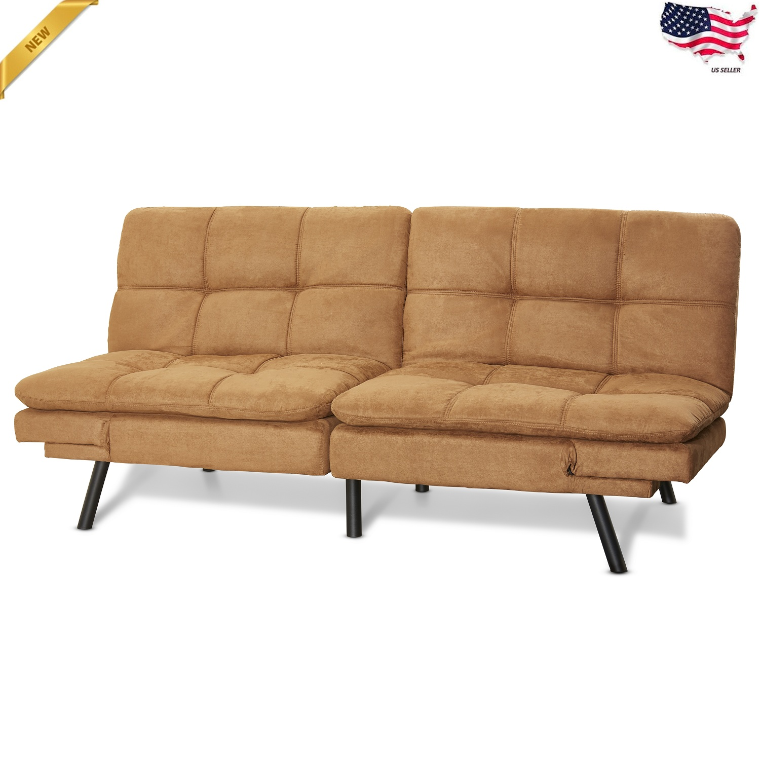 Convertible Futon Sleeper Sofa Couch Loveseat Modern Living Room Suede Furniture