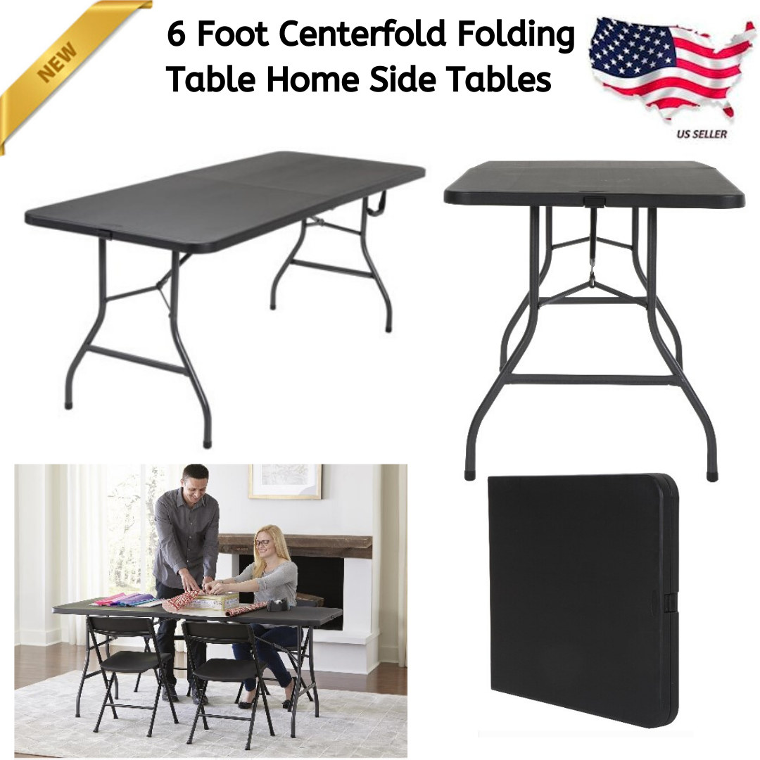 6 Foot Centerfold Folding Table Home Plastic Office Portable Tables Furnitures Ebay