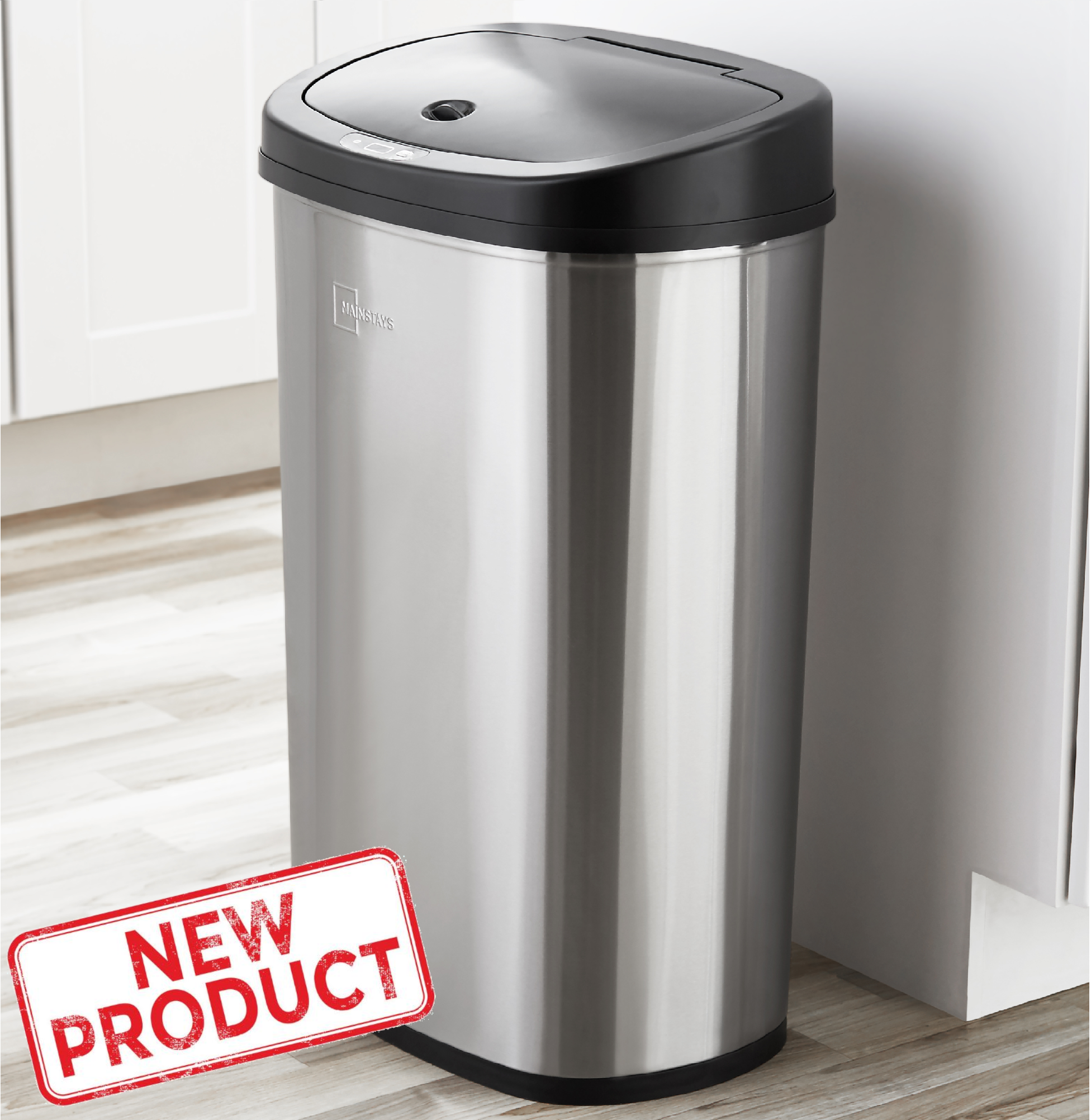 Details about 13 Gal Trash Can Motion Sensor Stainless Steel Kitchen  Garbage Hands Free Lid