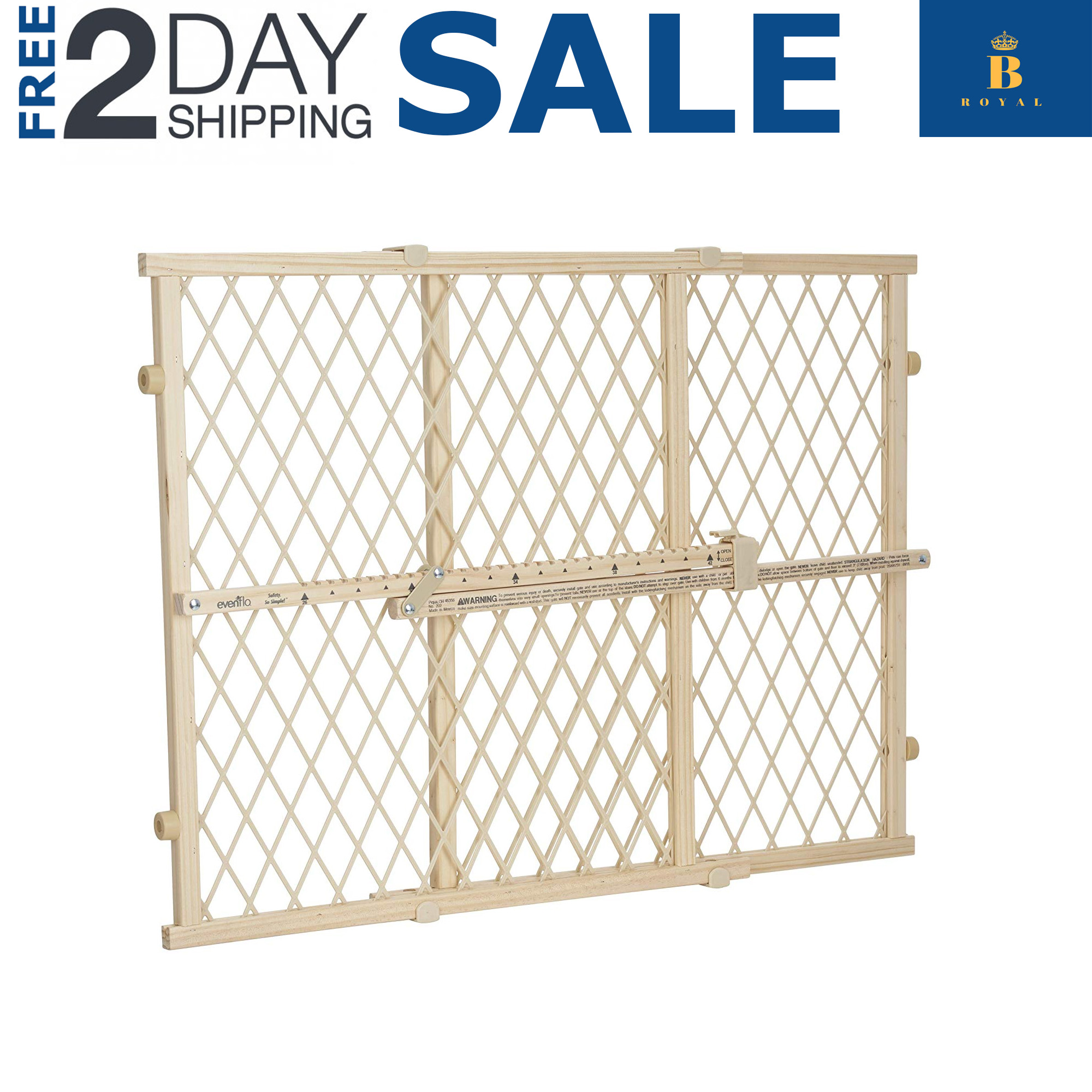 "Dog Gate Expandable Barrier Wood Fence Evenflo Position And Lock Tall 23/""x 42/'/'"