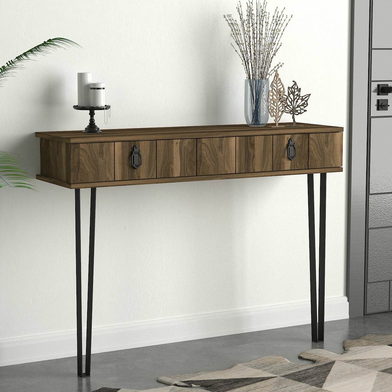 White Resin Folding Table, Narrow Console Table Vintage Industrial Furniture 1 Drawer Hallway Metal Legs Ebay