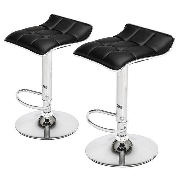 2 Soft-Packed Square Modern Bar Stools with Board Curved Foot Pu Fabric Black