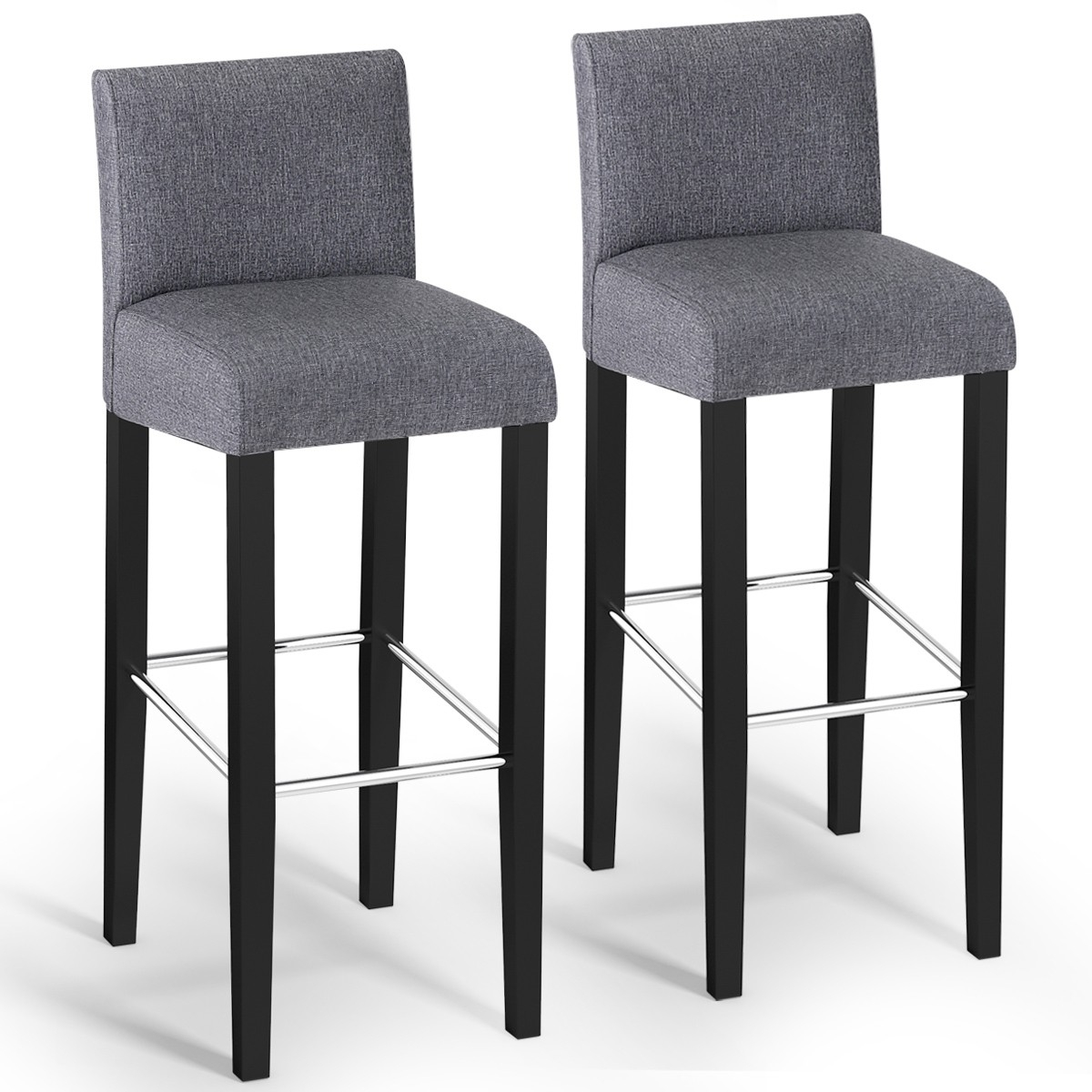 Groovy Details About 2 Pcs Modern Gray Fabric Bar Stools Pub Chairs With Solid Wooden Legs Ibusinesslaw Wood Chair Design Ideas Ibusinesslaworg