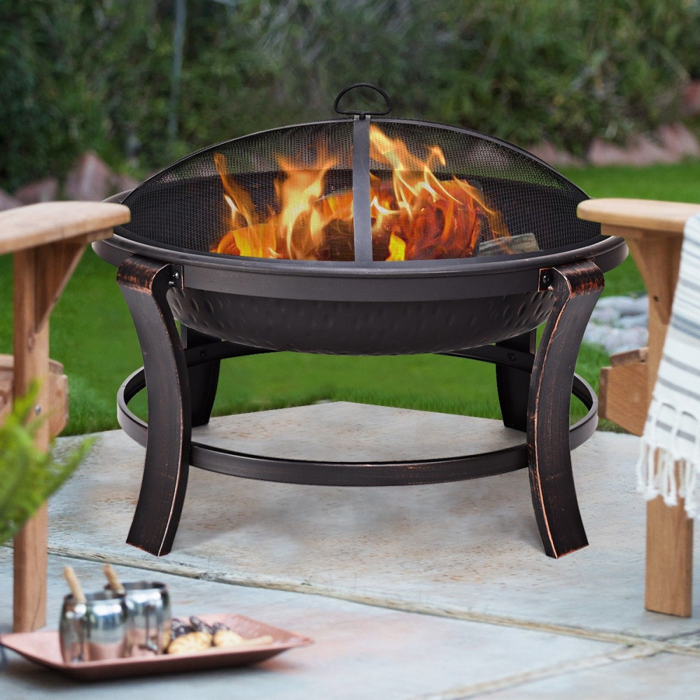 Camping Fire Pit >> Details About 30 Inch Fire Pit Outdoor Bbq Portable Camping Firepit Heater With Spark Screen