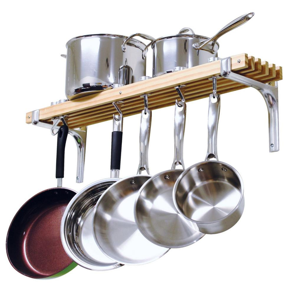 Details about Kitchen Pot Rack Pan Storage Container Organizer 36 Inch  Wooden Wall Mounted New
