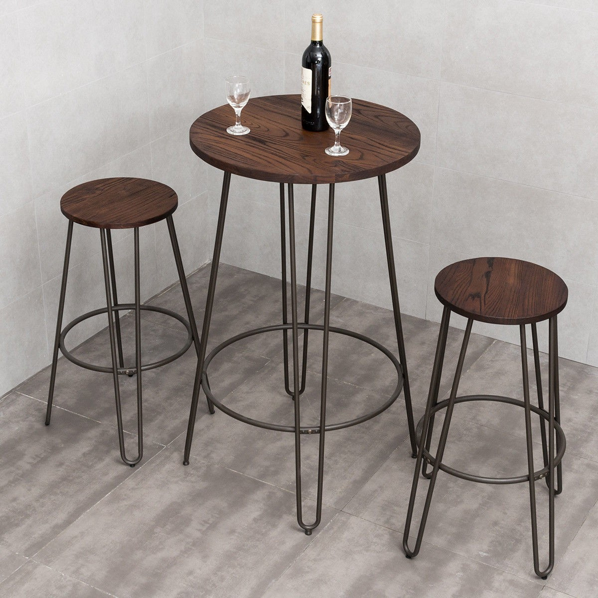 Details about Wood Top Round Bar Table Bistro Stool Set Steel Frame Home  Kitchen Dining Room