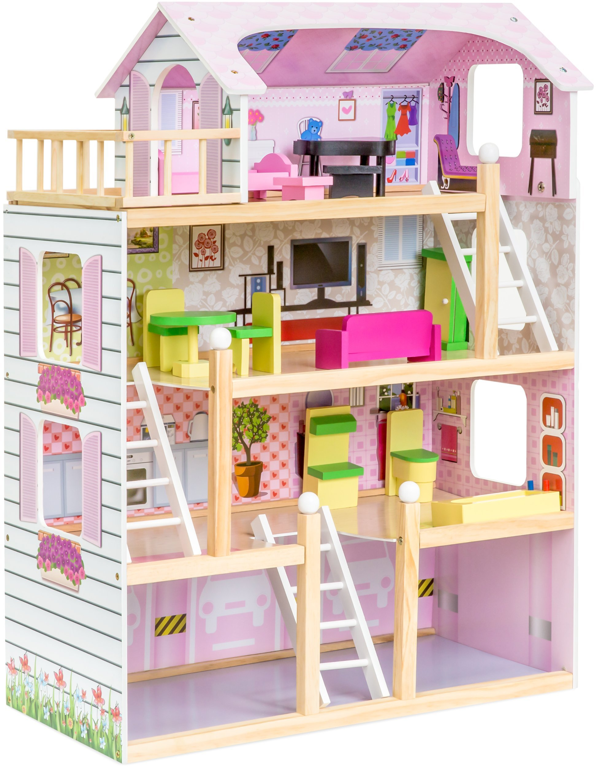 4 Level Kids Wooden Dollhouse W 13 Pieces Of Furniture Pink