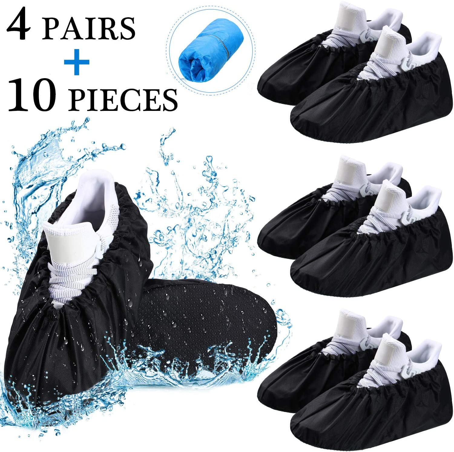 SATINIOR 2 Pairs Waterproof Silicone Shoe Cover Reusable Non-Slip Overshoe for Outdoor Rain Using