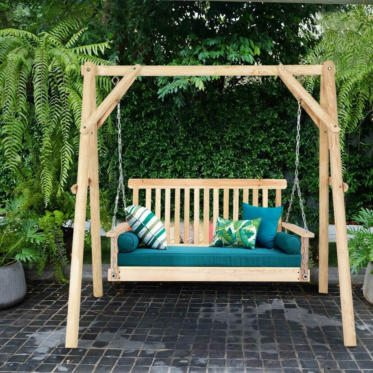 Details About 4 Porch Swing Patio Outdoor Hanging Seat Garden Chains Bench Wooden Furniture