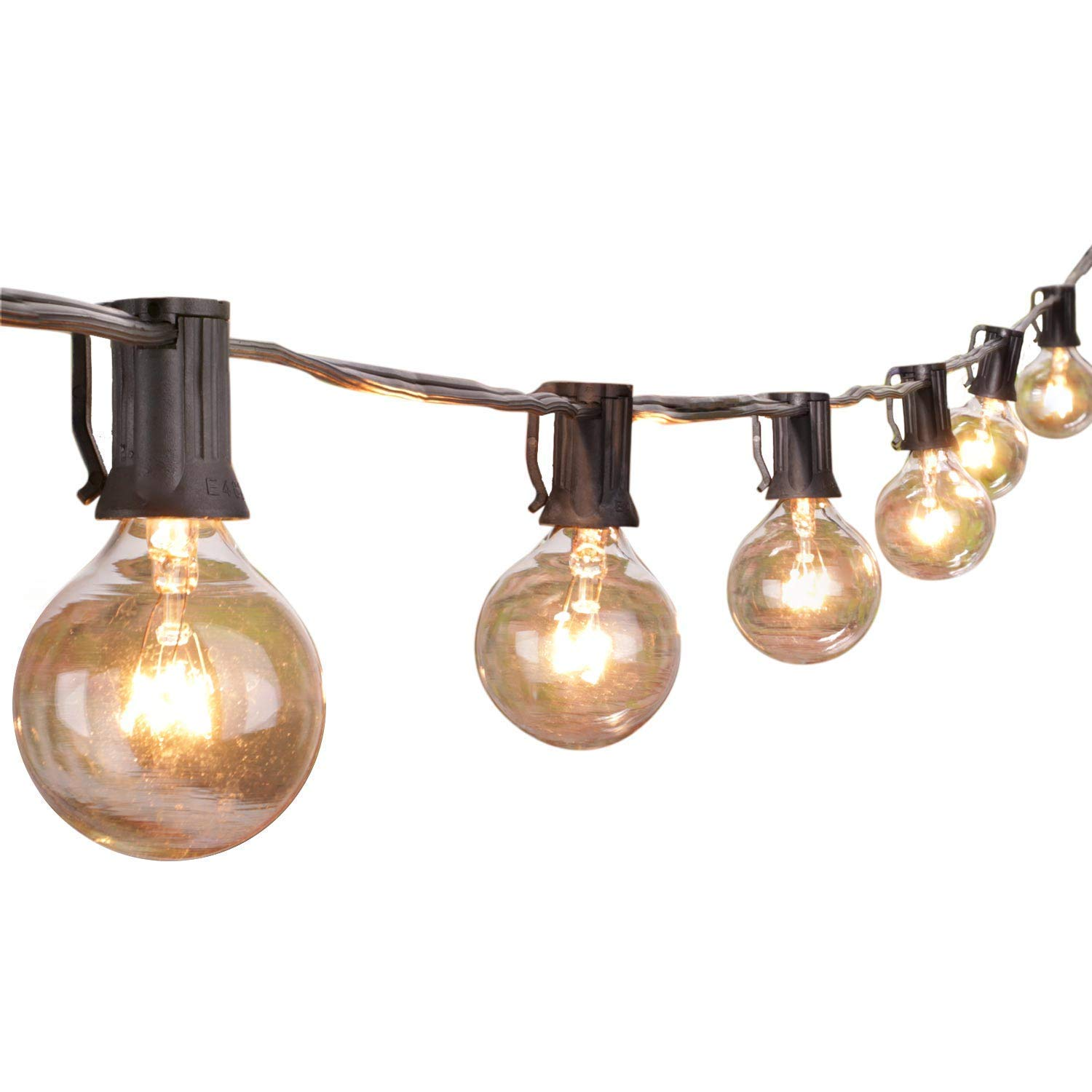 Details About 50ft Outdoor Patio String Lights With 50 Clear Globe G40 Bulbs Ul Certified For
