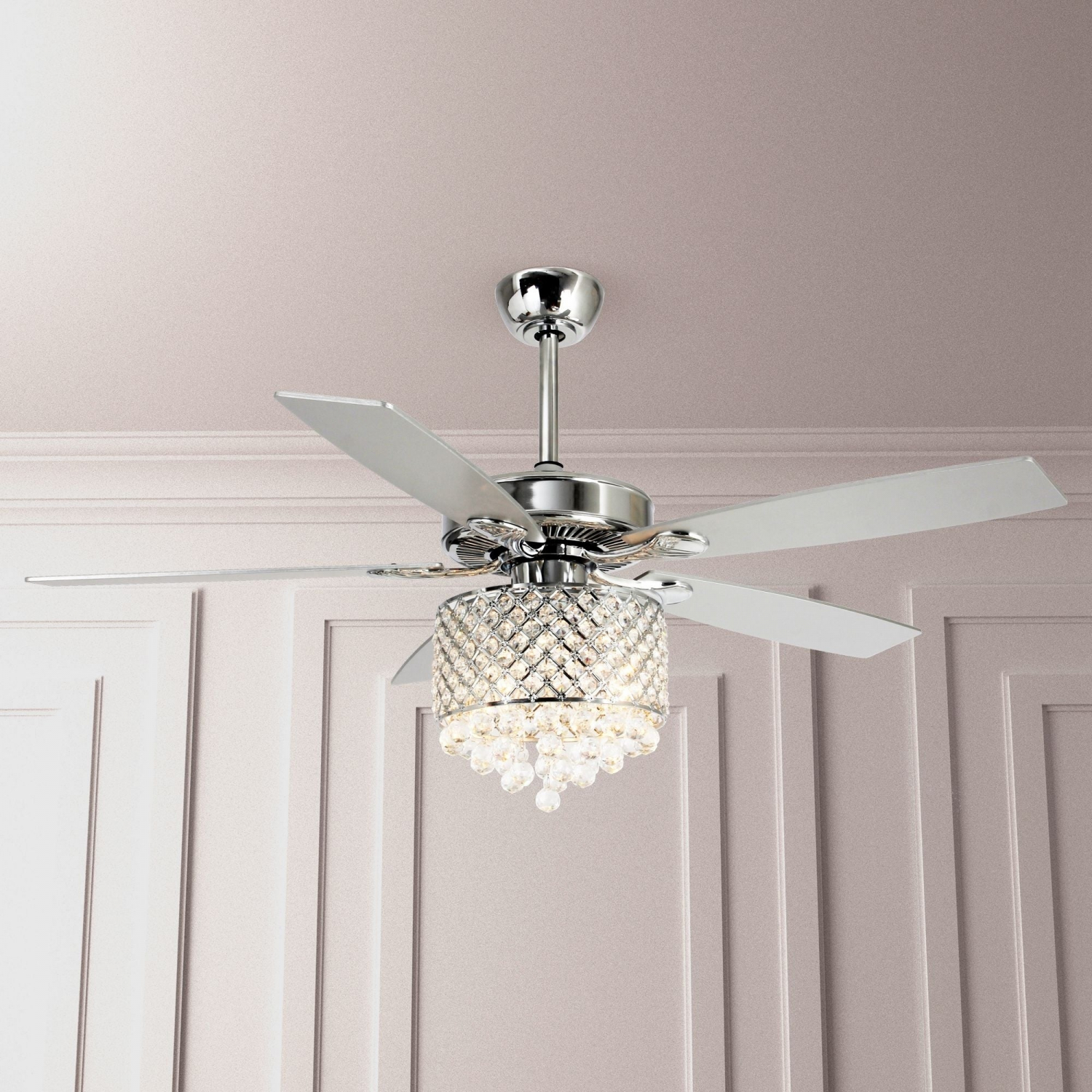 52 Inch Chrome 5 Blades Crystal Chandelier Ceiling Fan With Remote Ebay