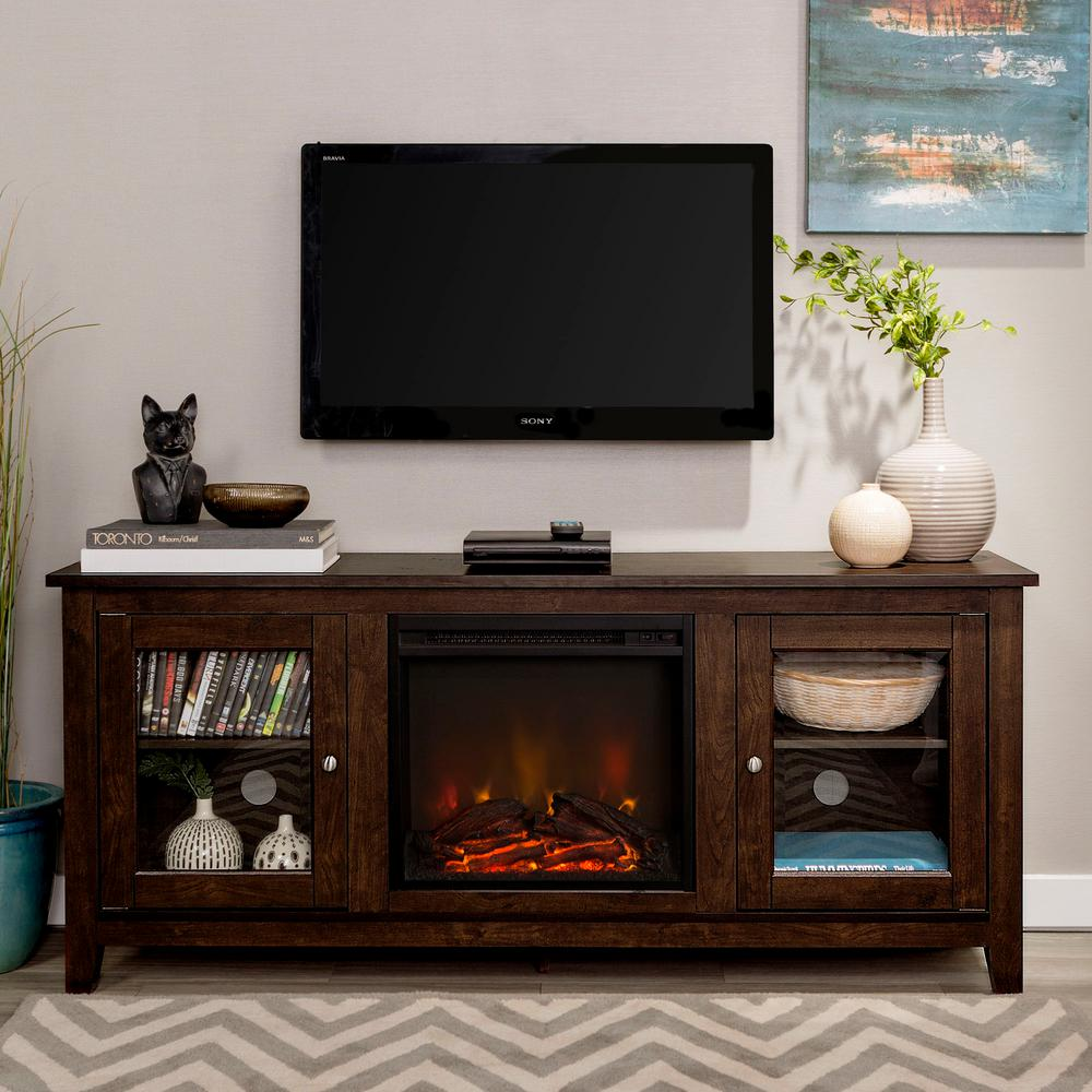 Details about Electric Fireplace Heater 11 in. Faux Log TV Stand Decor  (Traditional Brown)