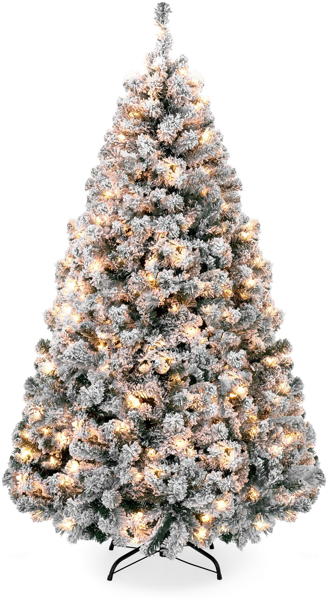 6ft Snow Flocked Pre-Lit Artifical Pine Christmas Tree w ...