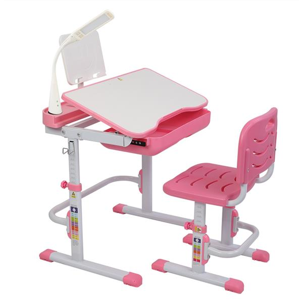 Children Learning Table And Chair Pink 70CM Lifting (With Reading Stand USB Interface Desk Lamp)