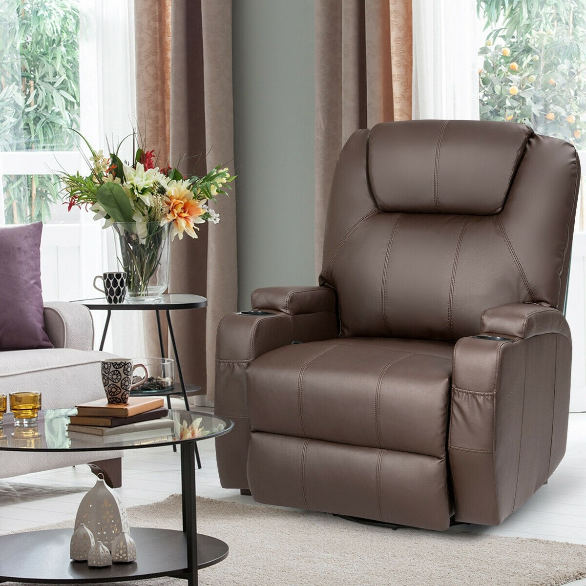 Details About Vibrating Recliner Heated Body Massage Chair Leather Lounge 360 Swivel Rocking