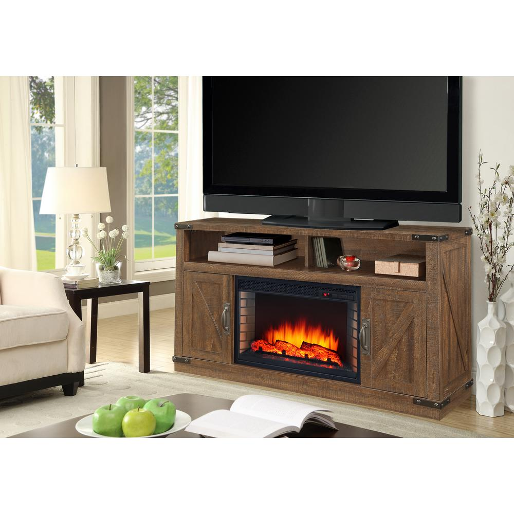 Aberfoyle 48 In Freestanding Electric Fireplace Tv Stand In Rustic Brown Ebay