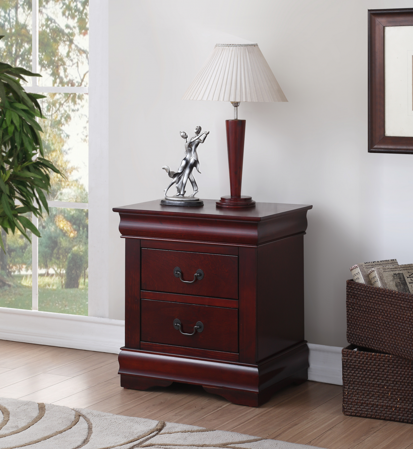 Details About Cherry Finish Nightstand Wood Bedside Table 2 Drawer End Side Storage Furniture
