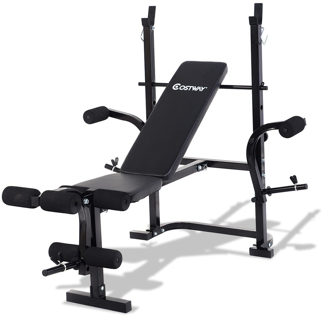 Details About Adjustable Flat Back Weight Lifting Bench Multi Function Incline Barbell Rack