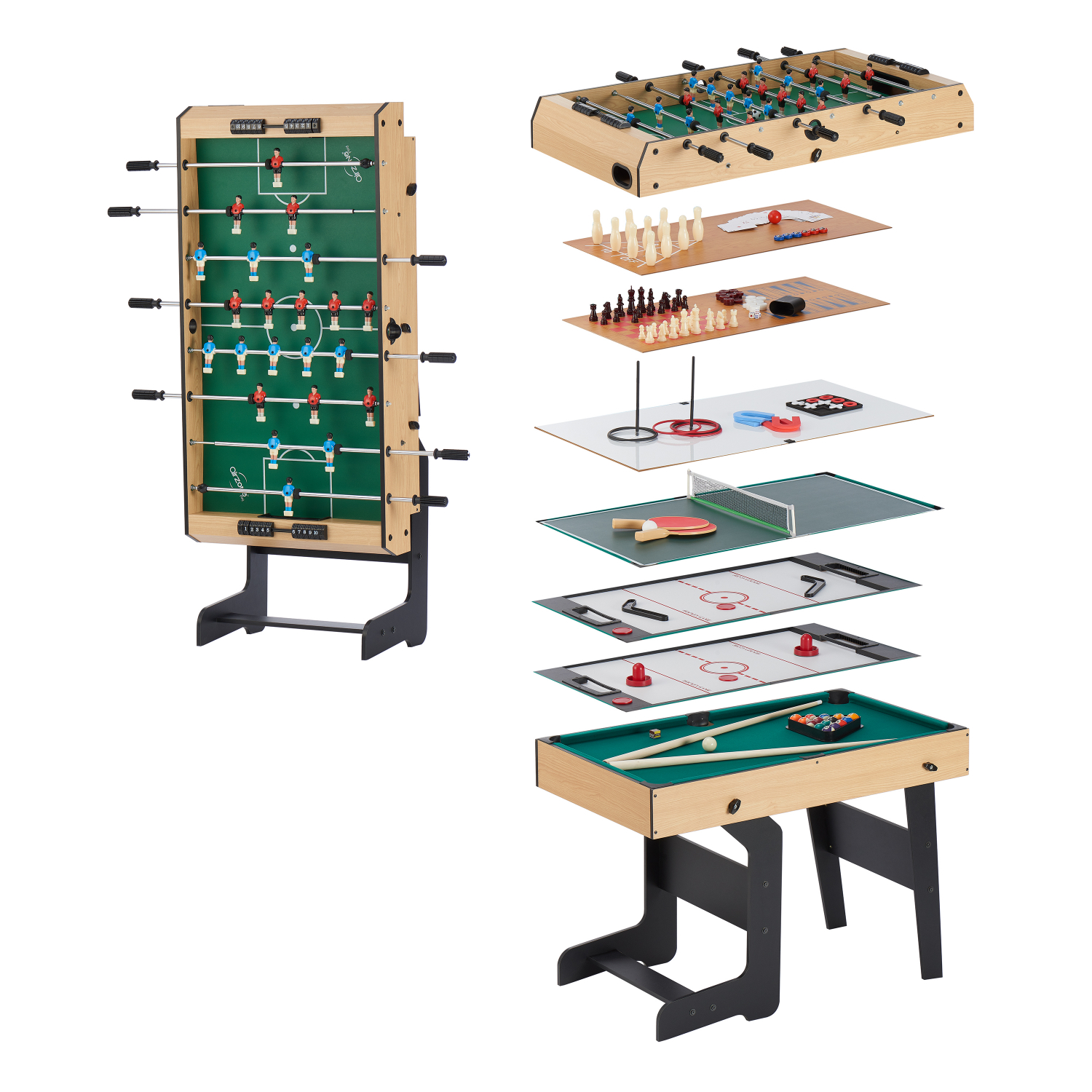 - 16 In 1 Folding Junior Multi Game Table W/ Accessories Table