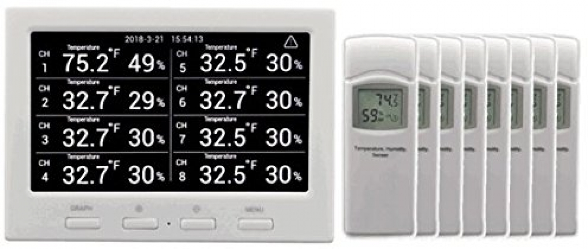 Details about Ambient Weather WS-3000-X8 Wireless Thermo-Hygrometer With  Logging, Alarming, 8