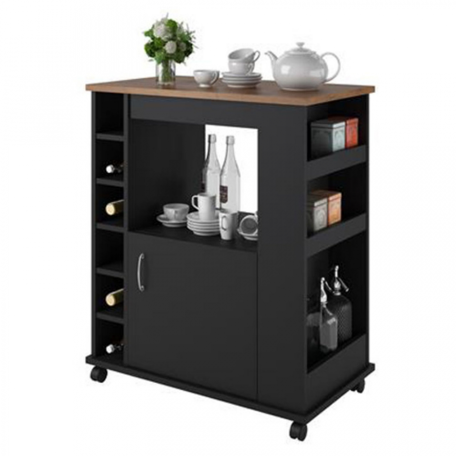 Small Kitchen Cart Island Cabinet Utility With Wheels on Carts Bar Wine Storage