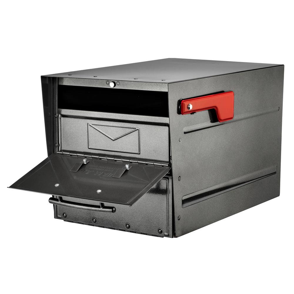 Black Mailbox Galvanized Steel Post-Mount with High Security Patented Lock