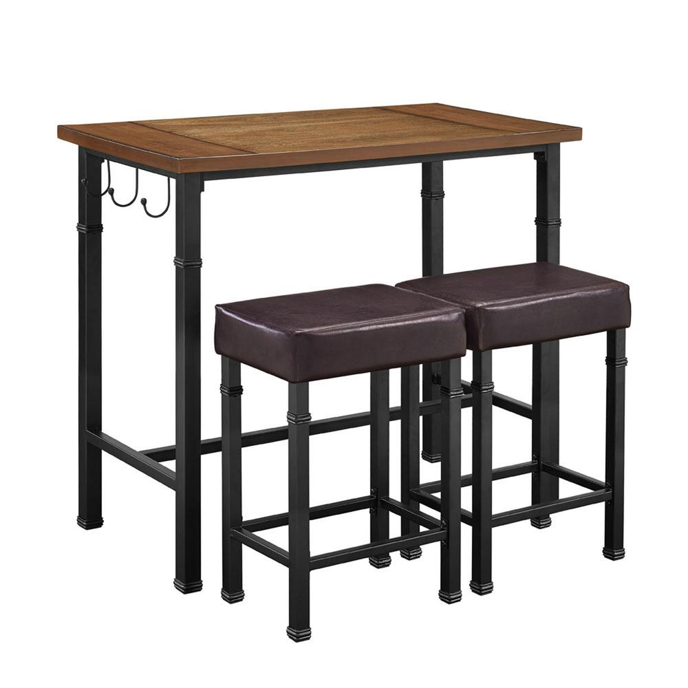 3 Pc Brown Bar Table Set With Plush Upholstered Seats Kitchen Dining Furniture Ebay