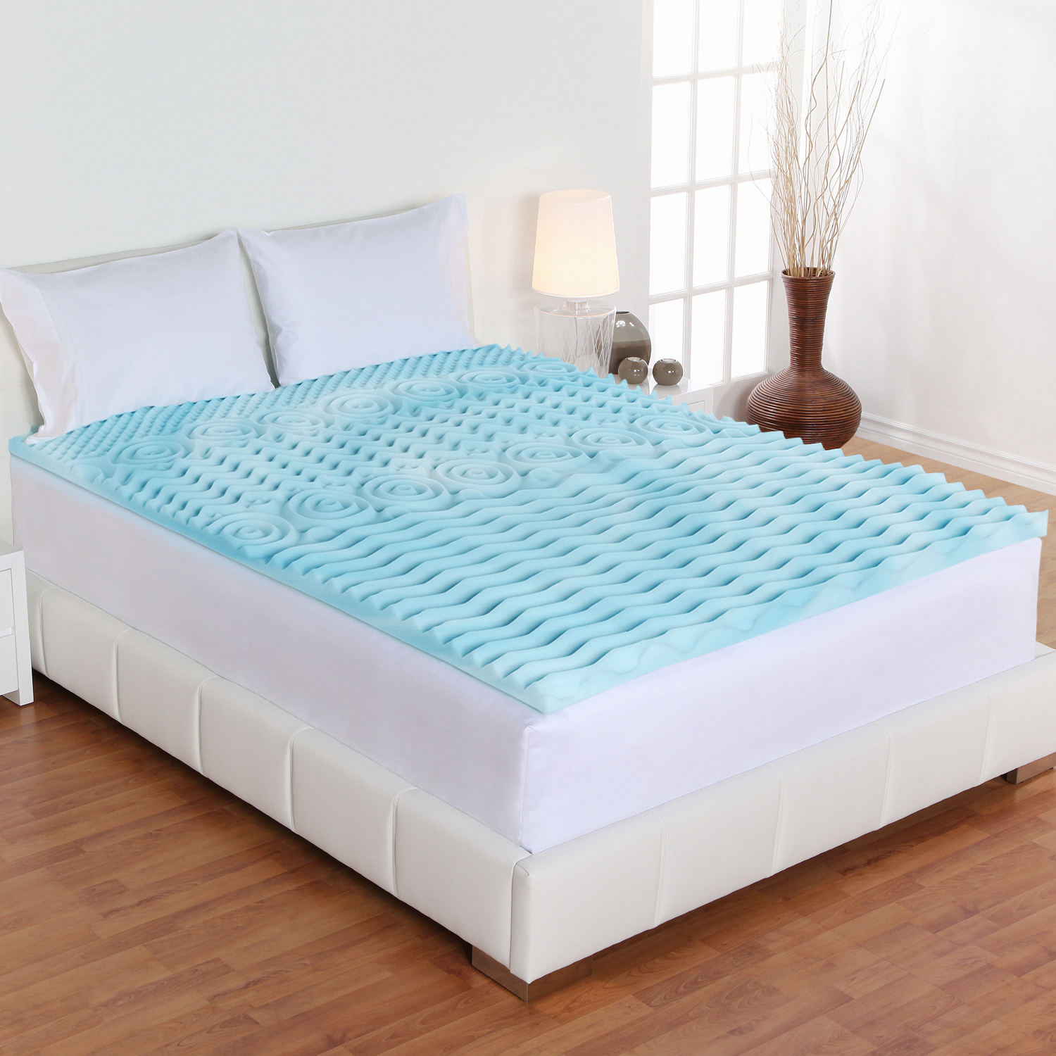 newest 6ab73 dabad Details about Bed Topper Gel Pad Full Size Orthopedic Foam Mattress Firm 2  Inch Cover For Back