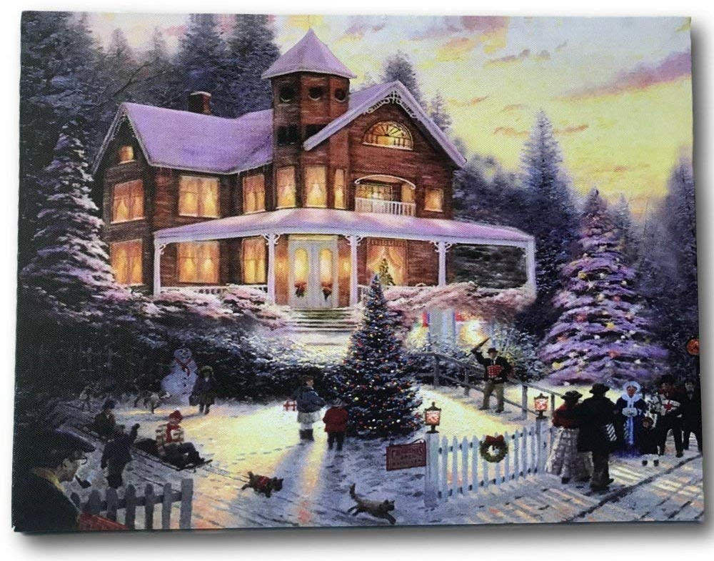 Led Lighted Christmas Picture Print Snowy Winter Trees