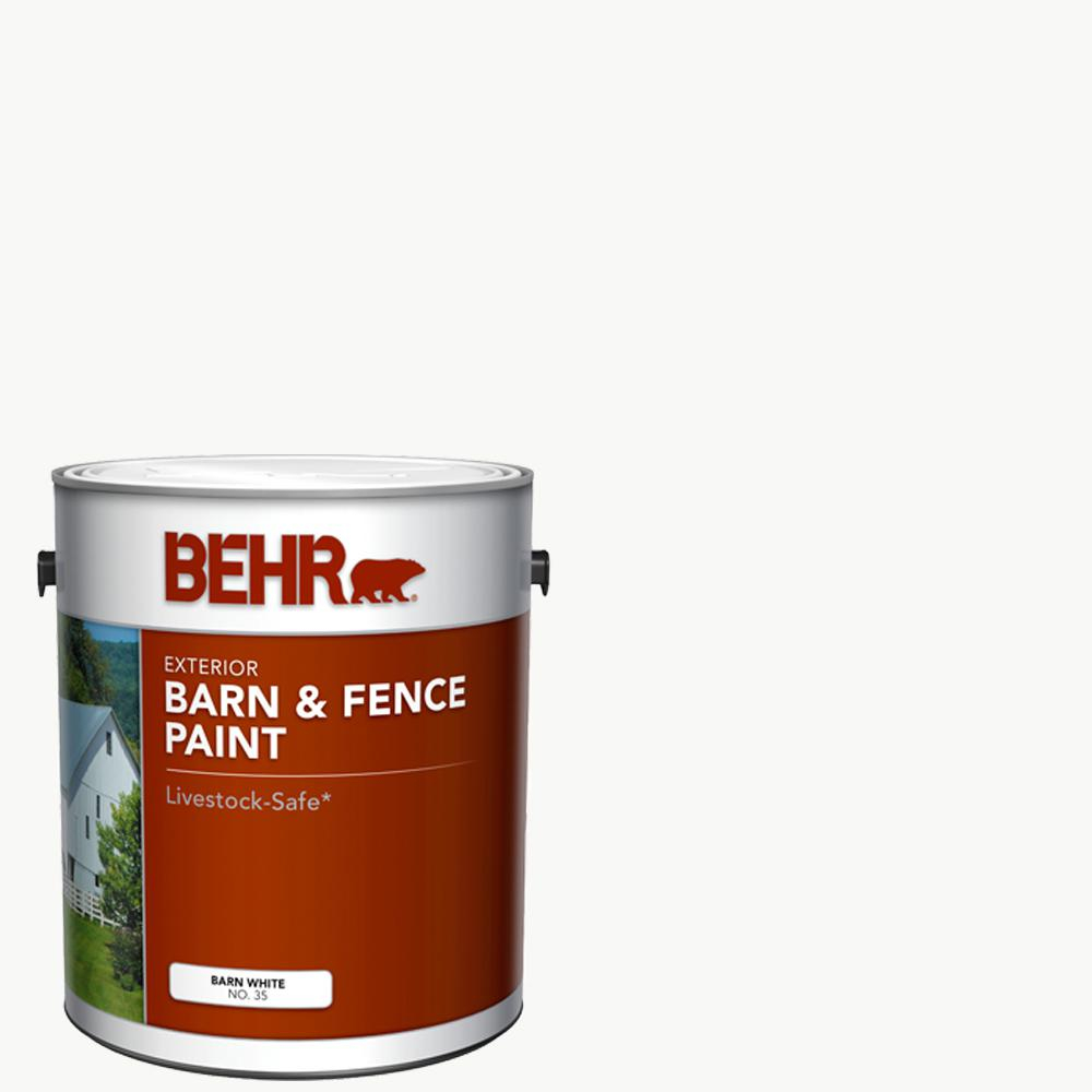 1 Gal White Exterior Barn & Fence Paint Bucket Oil Latex ...