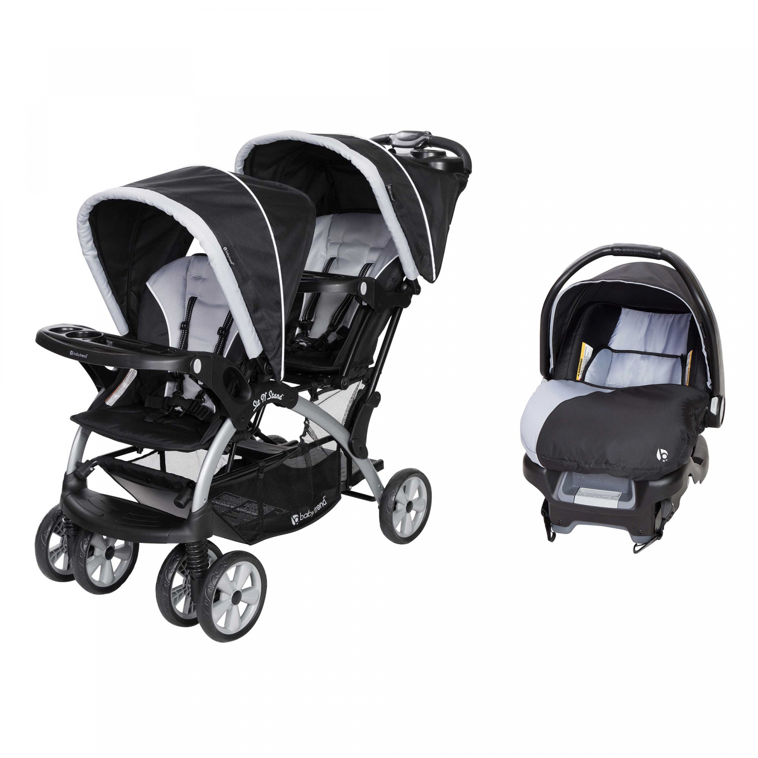 Twin Baby Sit-N-Stand Tandem 2-Seat Double Stroller Infant ...